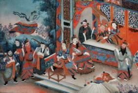 19th Century Chinese School. A Terrace Scene with
