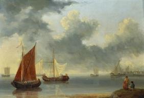 William Anderson (1757-1837) British. A Shipping Scene