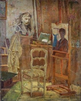 20th Century English School. An Artist's Studio, Oil on