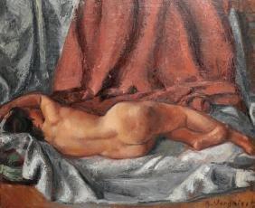 A... Vergoici (20th Century) European. A Nude Lying on