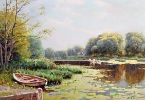 Vladimir Belsky (1949-   ) Russian. A Tranquil River