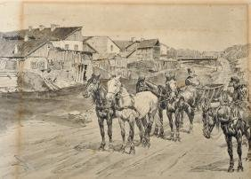 20th Century Russian School. Figures in Horse Drawn