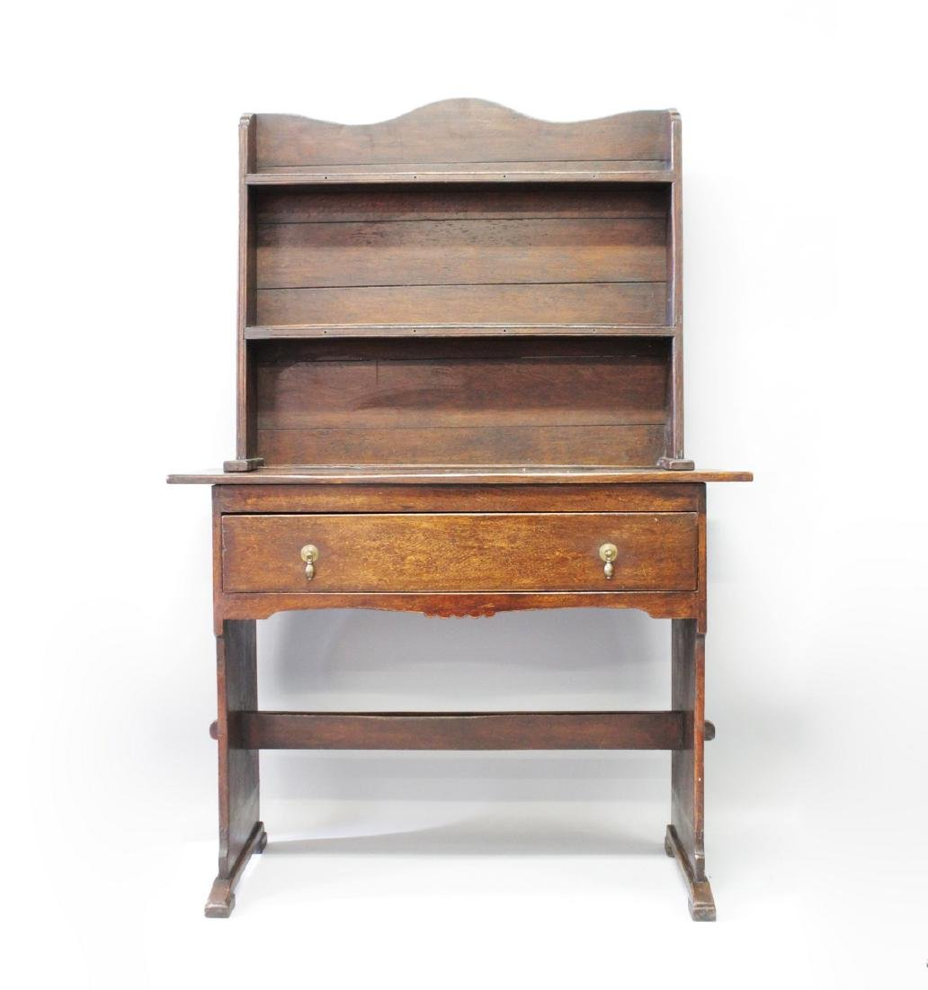 A RUSTIC OAK DRESSER OF SMALL SIZE, 20TH CENTURY, with