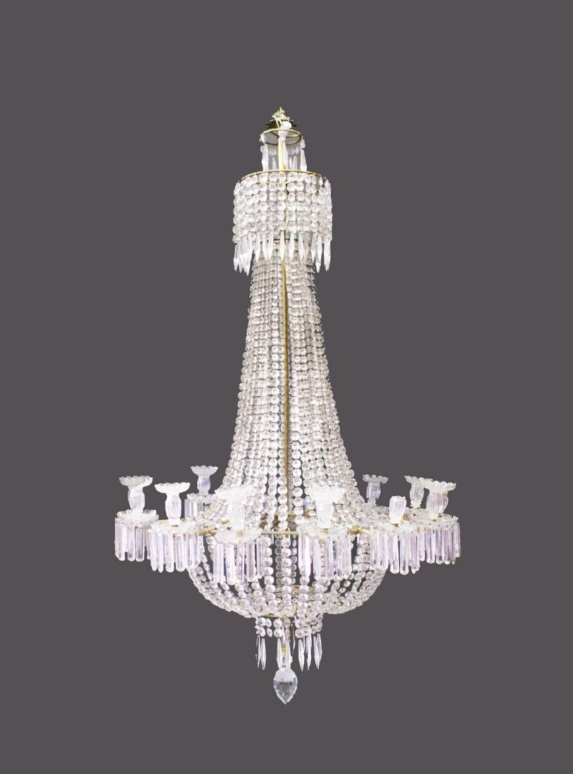 A SUPERB LARGE CUT CRYSTAL CHANDELIER, with rows of