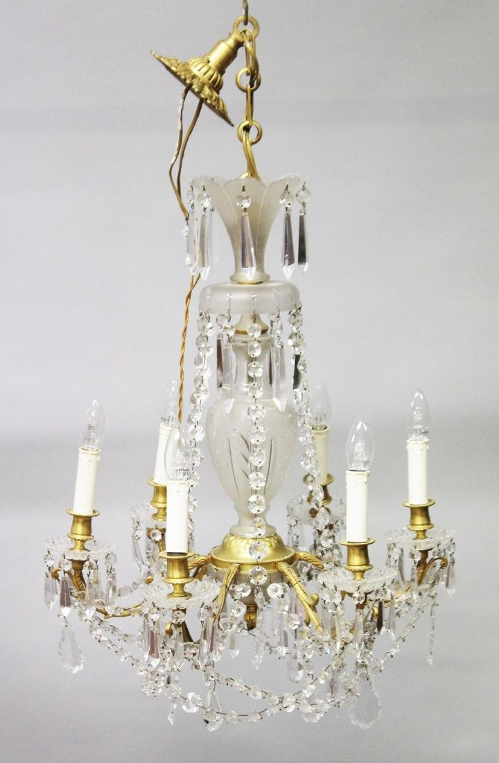 A GOOD LOUIS XVI DESIGN FROSTED CRYSTAL AND ORMOLU SIX