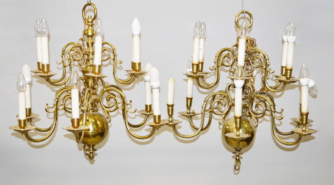 A PAIR OF DUTCH BRASS DOUBLE ROW CHANDELIERS with six