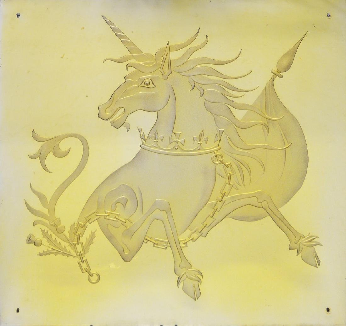 A LARGE ART DECO DESIGN MIRROR engraved with a unicorn.
