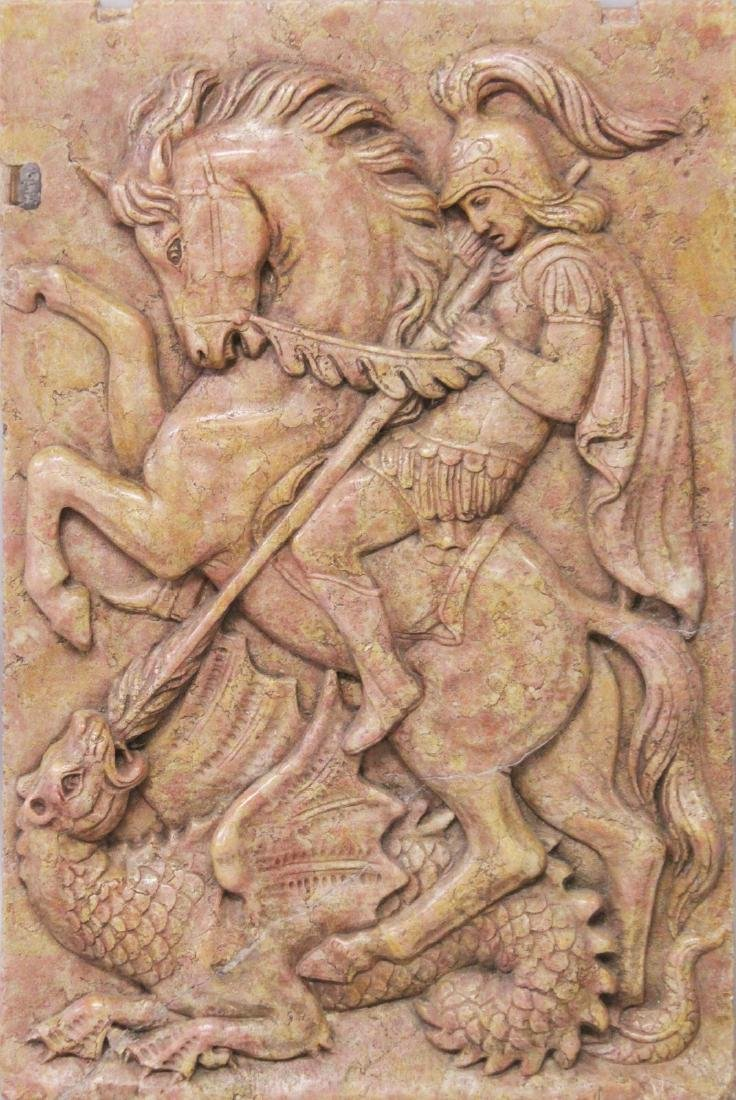 A LARGE EARLY CARVED MARBLE PLAQUE of ST. GEORGE