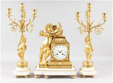 A SUPERB 19TH CENTURY FRENCH ORMOLU AND WHITE MARBLE