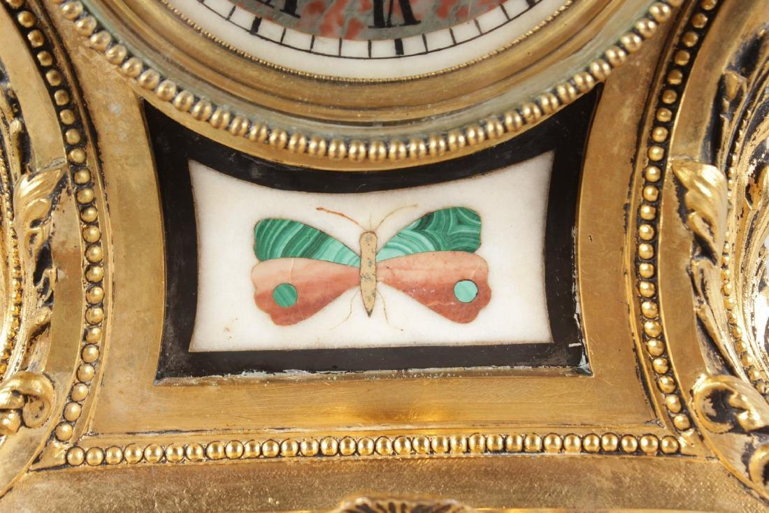 A SUPERB LOUIS XVI ORMOLU AND PIETRA DURA MANTLE CLOCK, - 4