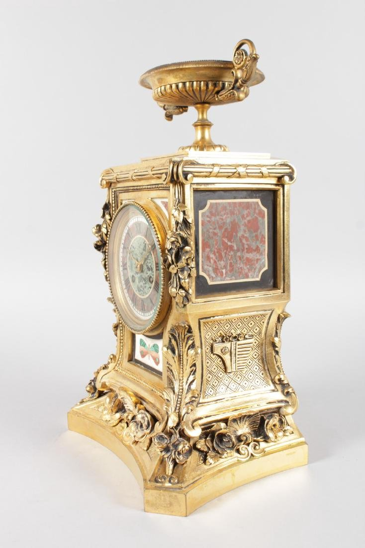 A SUPERB LOUIS XVI ORMOLU AND PIETRA DURA MANTLE CLOCK, - 7