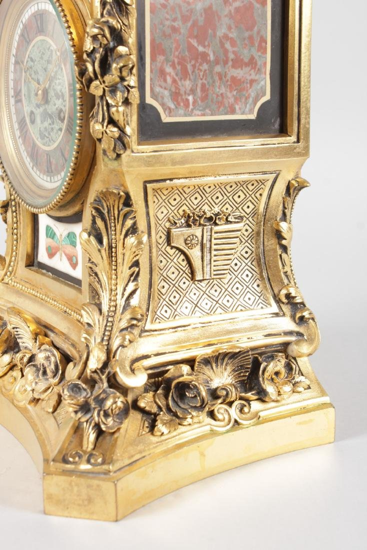A SUPERB LOUIS XVI ORMOLU AND PIETRA DURA MANTLE CLOCK, - 8