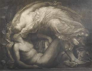 """Frank Short (1857-1945) British. """"Diana and Endymion"""""""