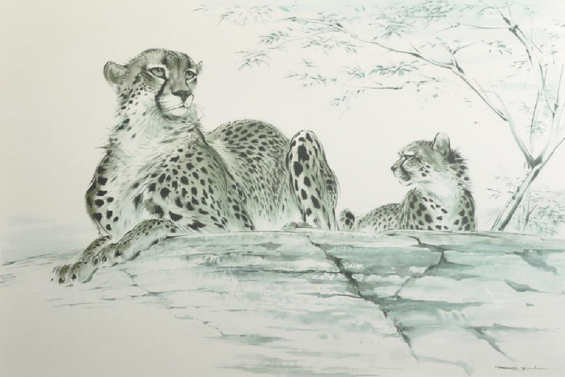 Ralph Thompson (1913-2009) British. Cheetahs at Rest,