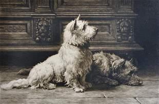 """Herbert Thomas Dicksee (1862-1942) British. """"Footsteps"""