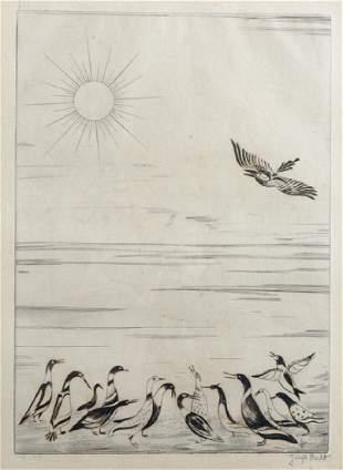 "Joseph Hecht (1891-1951) Polish/French. ""Ducks and Sun,"