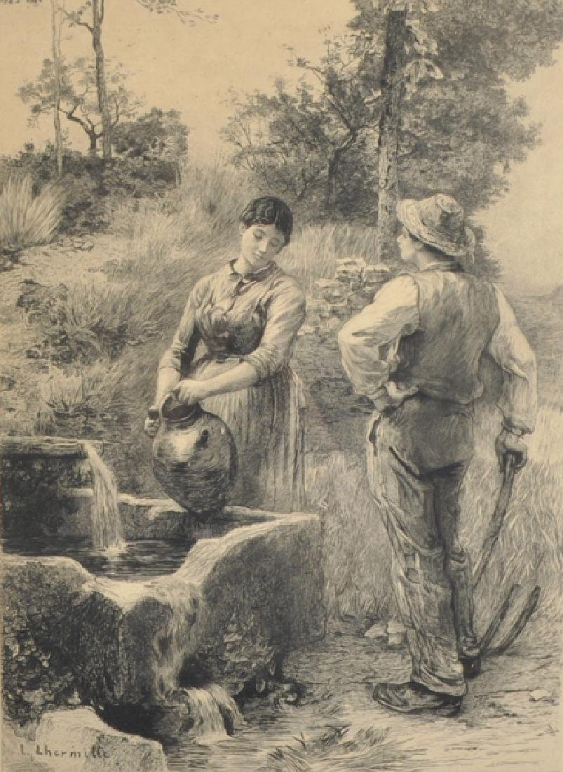 After Leon L'Hermitte (1844-1925) French. Figures by a