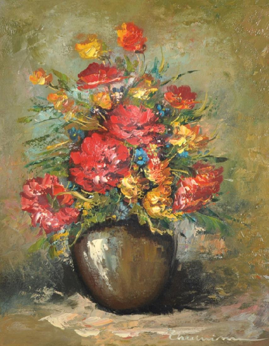 20th Century French School. Still Life of Flowers in a