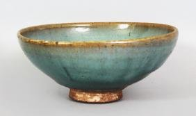 A CHINESE MING DYNASTY JUN WARE STONEWARE BOWL, applied