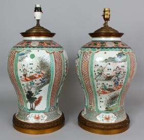A GOOD LARGE PAIR OF CHINESE KANGXI PERIOD FAMILLE