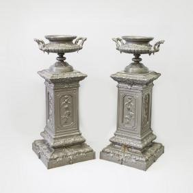 A SUPERB PAIR OF FRENCH PAINTED CAST IRON CIRCULAR TWO