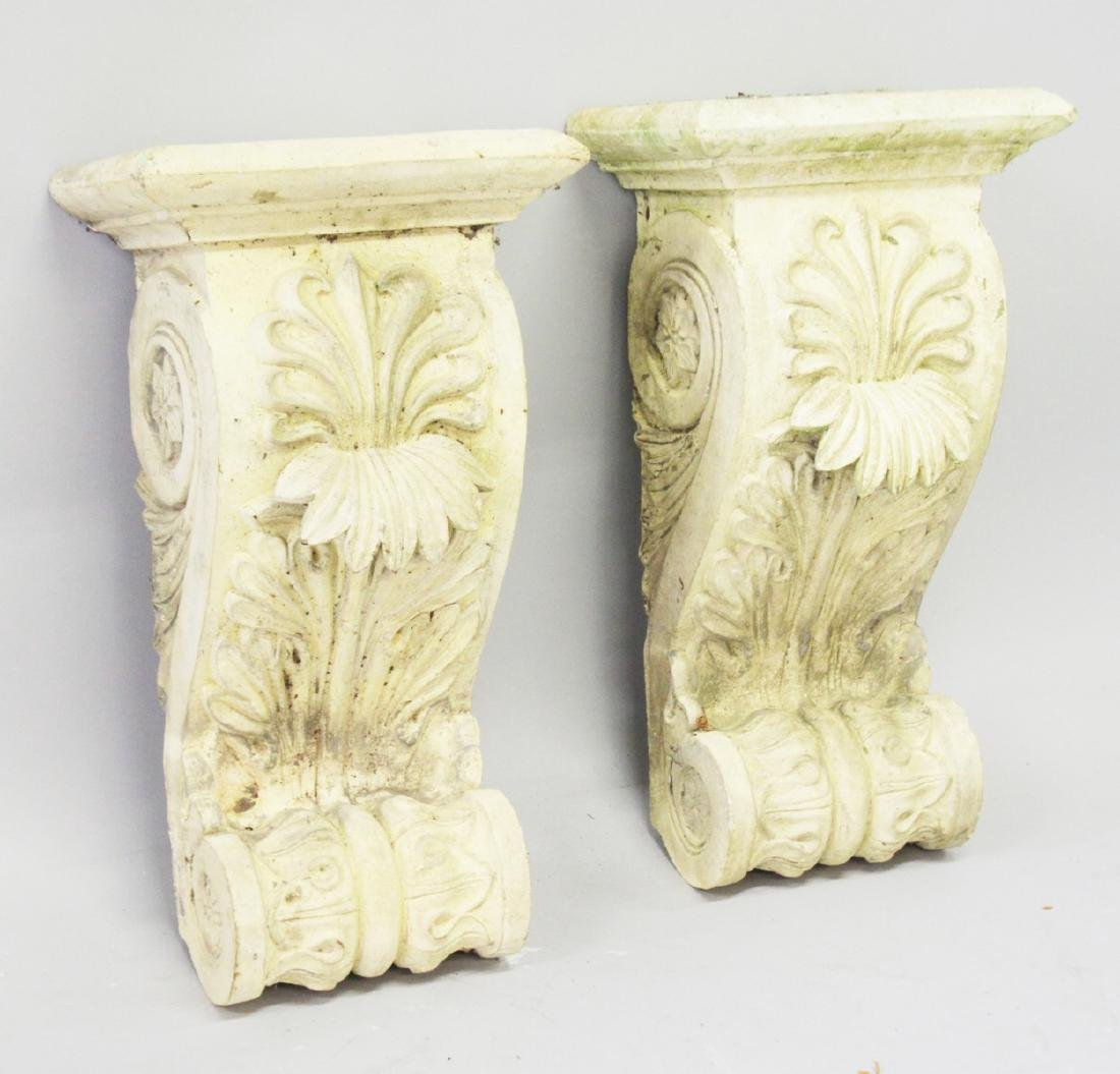 A PAIR OF ACANTHUS MOUNTED BRACKETS.  1ft 9ins long.