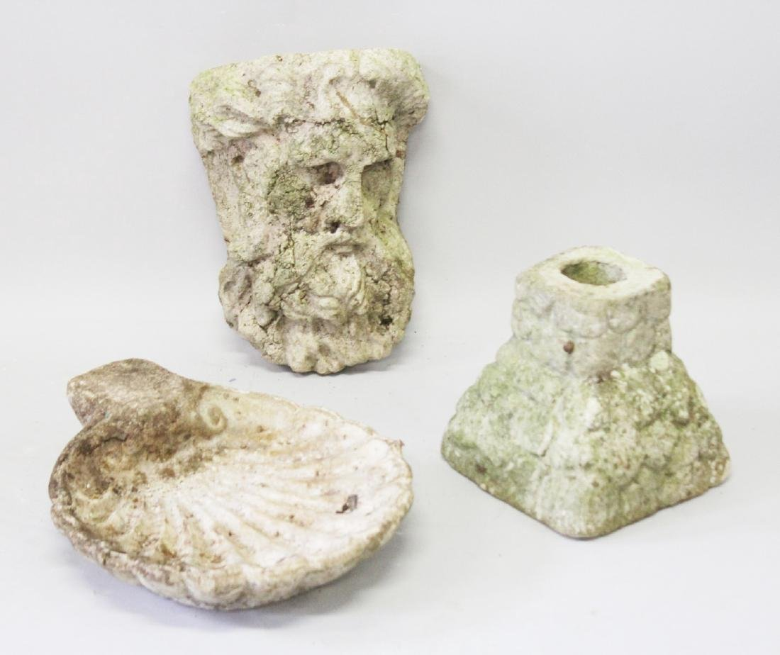 A SHELL BOWL, HEAD OF HERCULES AND RUSTIC BASE (3).