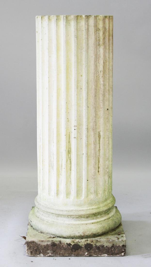 A GOOD FLUTED CIRCULAR PEDESTAL, on a square base.  3ft