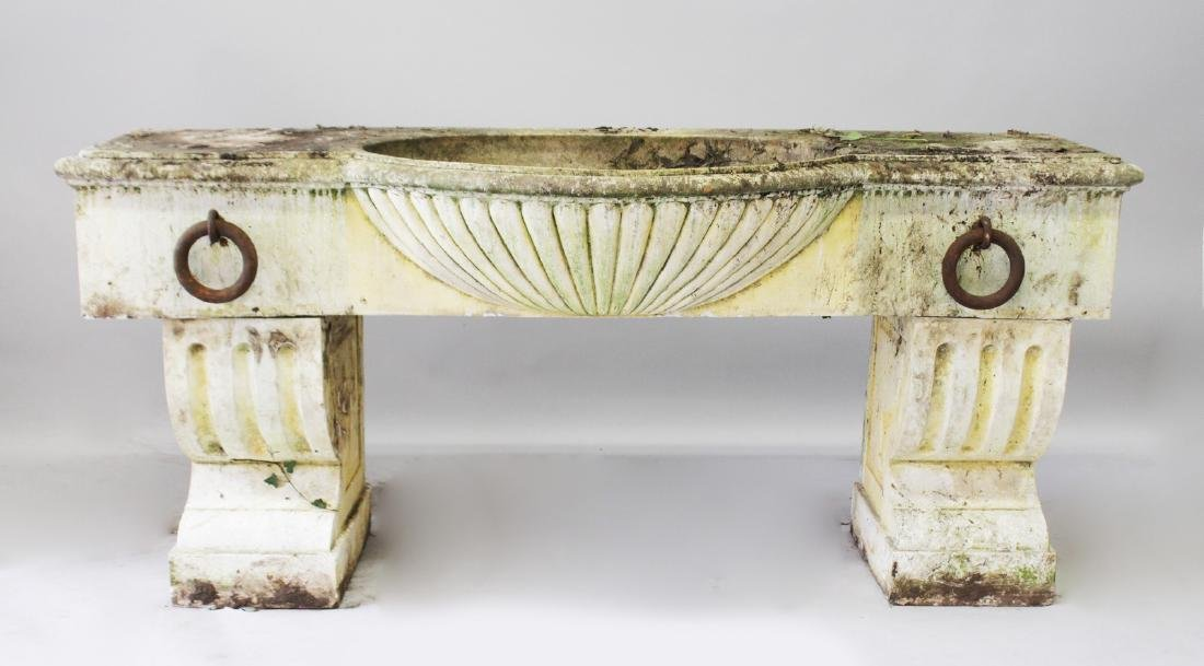 A LARGE PEDESTAL HORSE TROUGH, to imitate white marble,