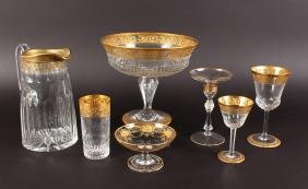 A SUPERB SUITE OF ST LOUIS CRYSTAL edged in gold,