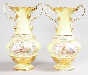 A SUPERB PAIR OF 19TH CENTURY MEISSEN TWO HANDLED VASES