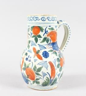A DE PAAUW LATE 17TH CENTURY POTTERY JUG.  Floral