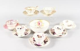 A 19TH CENTURY ENGLISH PORCELAIN SEVEN CUPS AND