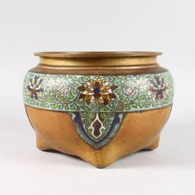 A CHINESE BRONZE AND CLOISONNE ENAMEL CIRCULAR CENSER.