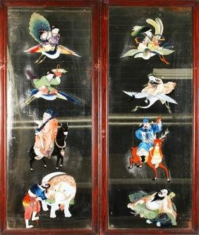 A PAIR OF CHINESE MIRRORED PANELS, 20TH CENTURY, each