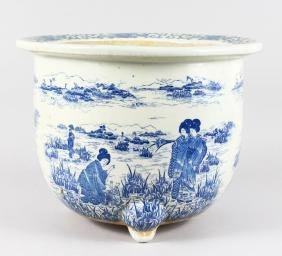 A LARGE JAPANESE BLUE AND WHITE JARDINIERE with