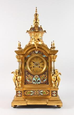 A SUPERB LARGE 19TH CENTURY FRENCH GILT BRONZE AND