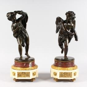 A SUPERB PAIR OF LOUIS XVI BRONZE ORMOLU AND MARBLE
