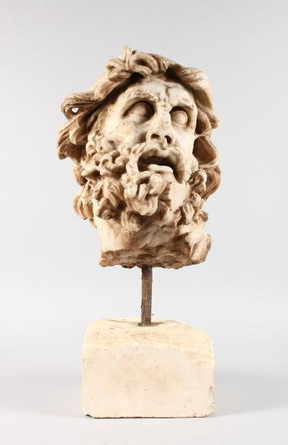 A GOOD CARVED MARBLE HEAD OF ULYSSES (ODYSSEUS), After