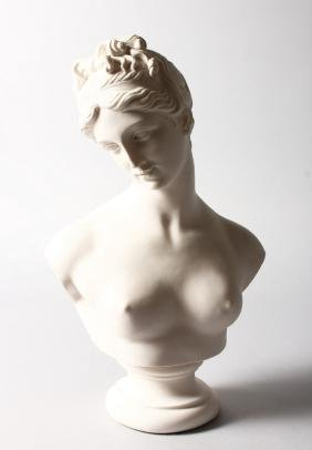 A WHITE MARBLE BUST OF VENUS.  13ins high.