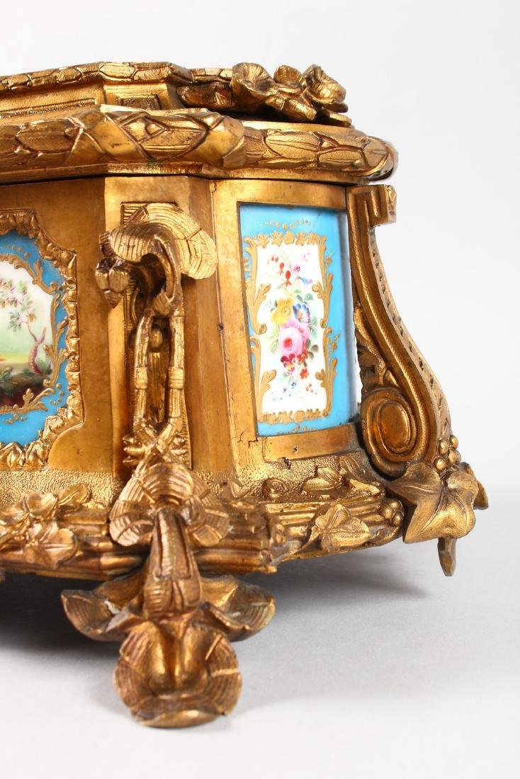 A SUPERB 19TH CENTURY FRENCH ORMOLU JEWELLERY BOX with - 5