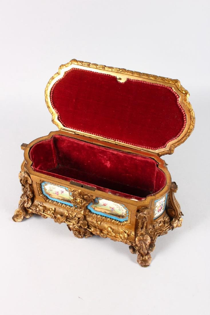 A SUPERB 19TH CENTURY FRENCH ORMOLU JEWELLERY BOX with - 8
