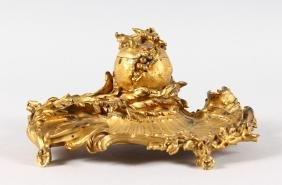A SUPERB FRENCH GILT BRONZE INKWELL by PAUL SORMANI the