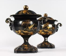 A GOOD PAIR OF 19TH CENTURY TOLEWARE TWO HANDLED URNS