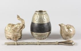 THREE PIECES OF SOUTH AMERICAN SILVER, elephant box,