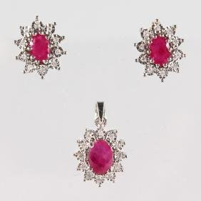 A 9CT GOLD, RUBY AND DIAMOND PENDANT and PAIR OF