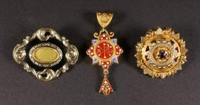 TWO VICTORIAN GOLD BROOCHES and A PENDANT (2).