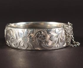A GEORG JENSEN SILVER BANGLE with later London mark