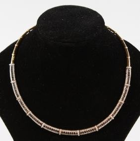 A GOOD YELLOW GOLD, SAPPHIRE AND DIAMOND NECKLACE.