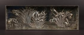 A GOOD CHINESE SILVER PEN TRAY, repousse with a stork